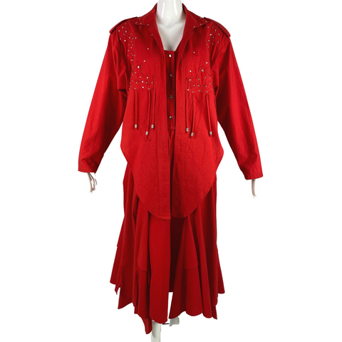 Varda Garfinkle Red Western Dress