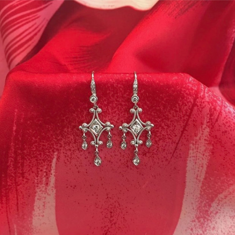 Eli Frei Chandelier 18K White Gold Earrings