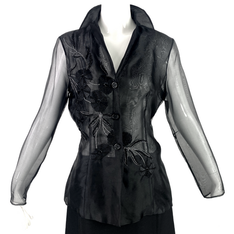 Tahari Black Sheer Silk Blouse