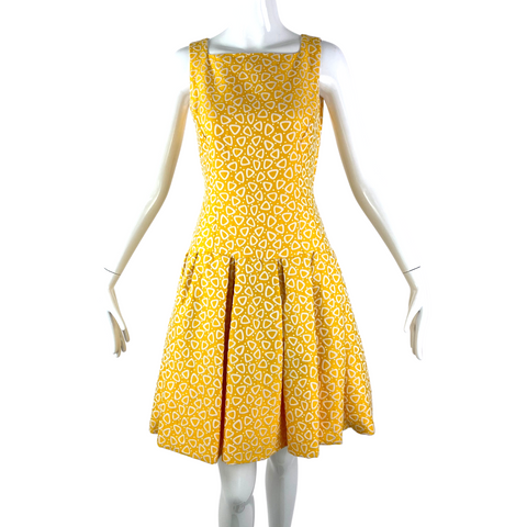 Retro Drop Waist Yellow Dress