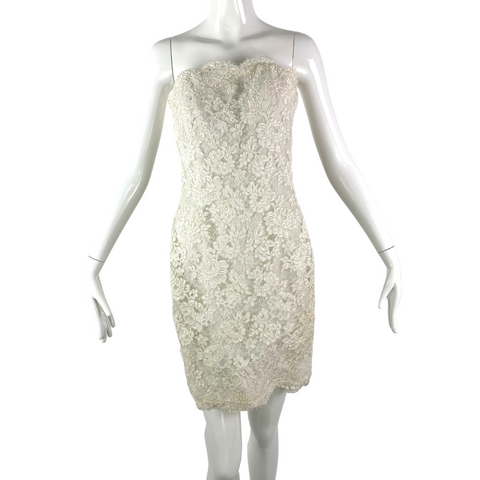 Victor Costa 80's White Applique Strapless Dress