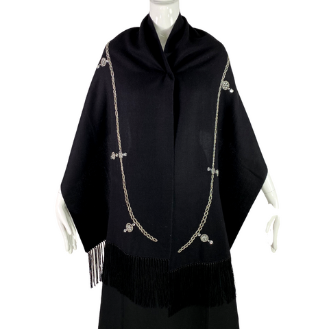 Vintage Black Embellished Wool Shawl