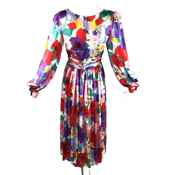 80's Morton Myles for the Warrens Silk Flower Dress