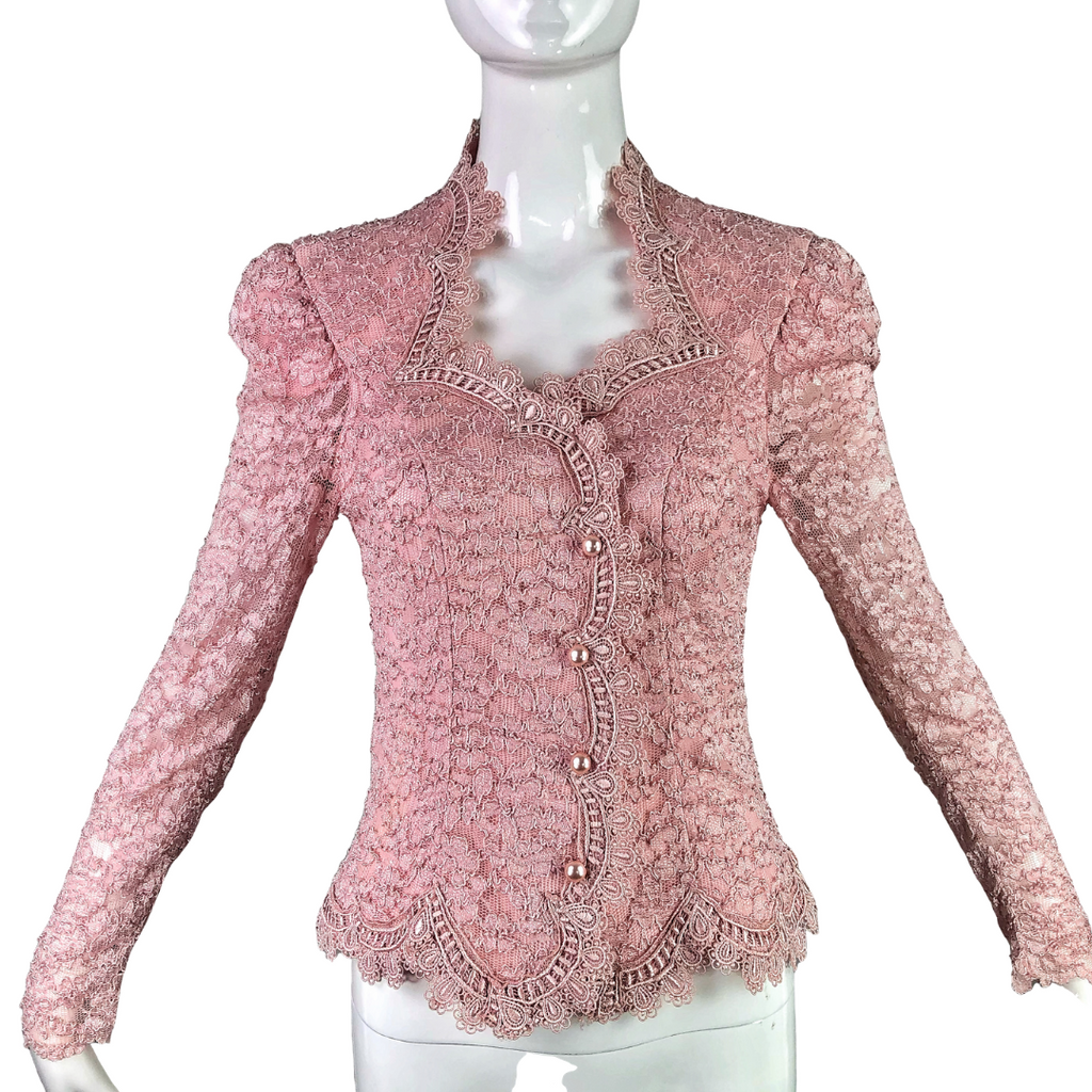 80's Cachet Blush Lace Formal Blouse