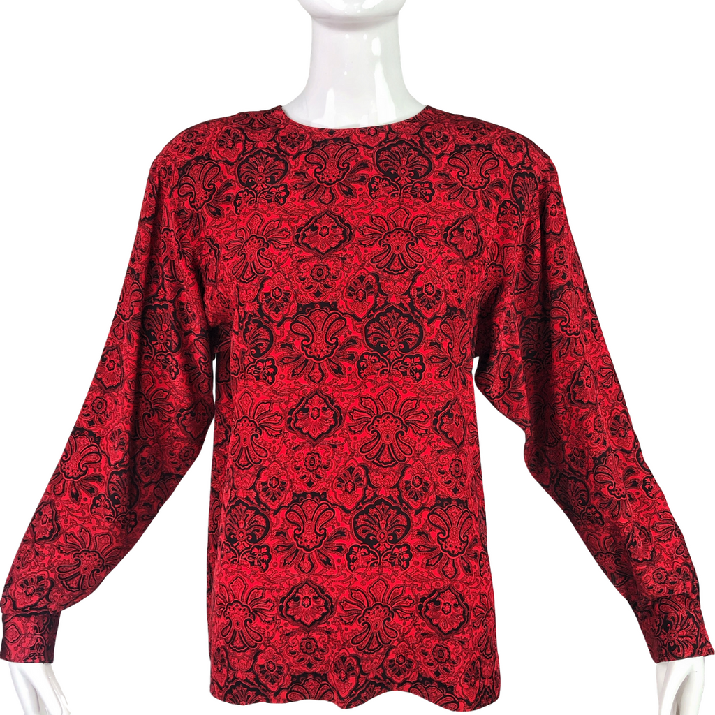 Evan Picone Red Pattern 80's Silk Blouse