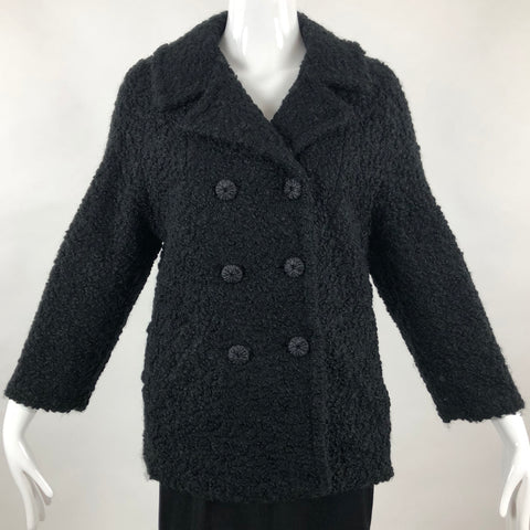 Vintage Cropped Black Wool Coat