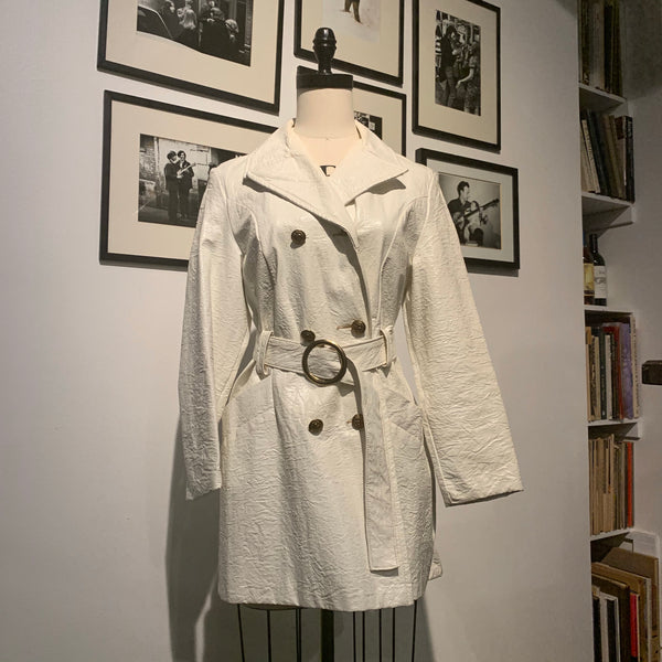 Vintage White Patent Leather Coat