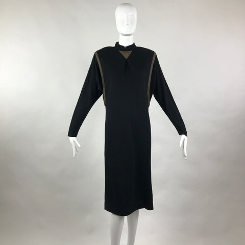 70's Neiman Marcus Wool and Leather Trim Caftan