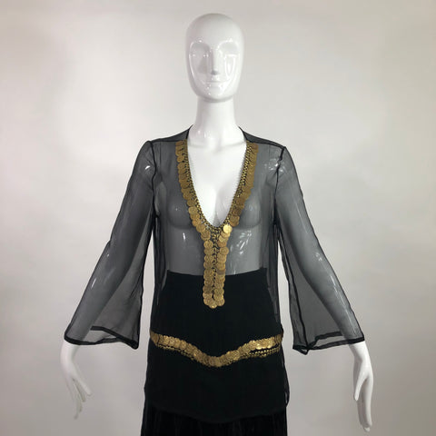 Lillie Rubin Silk Black Coin Blouse