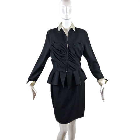 80's Thierry Mugler Black & White Trim Skirt Suit