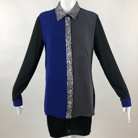 Alberto Makali Tri-Color Sequin Blouse