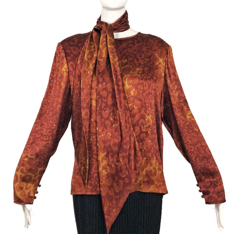 Bill Blass Brown Silk Blouse