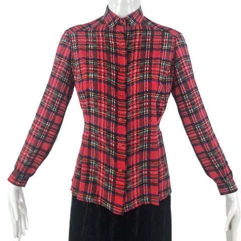 David Hayes 80s Plaid Silk Blouse