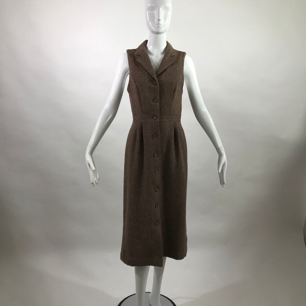 80's Harris Tweed Herringbone Maxi Dress by Brenda Hollow