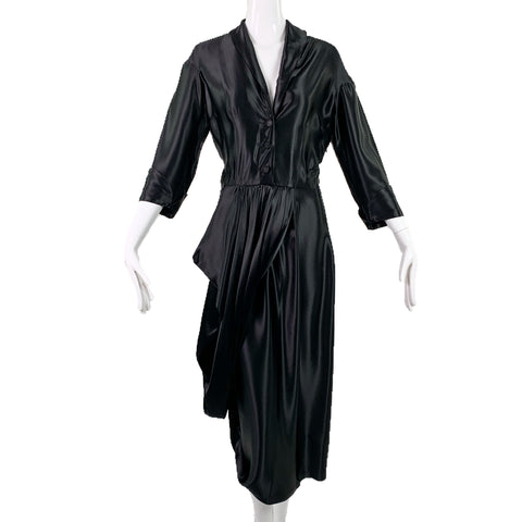 OMO Norma Kamali Black Satin Dress