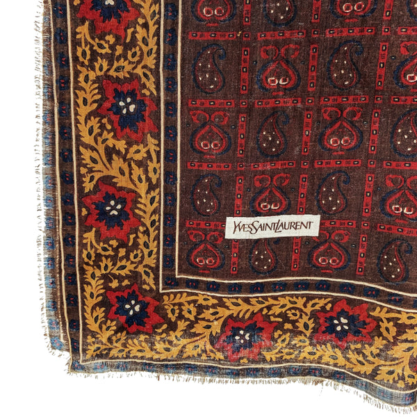 YSL Vintage Wool Scarf Brown
