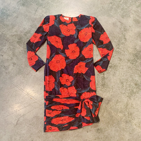 Yves Cossette 80s Silk Floral Dress
