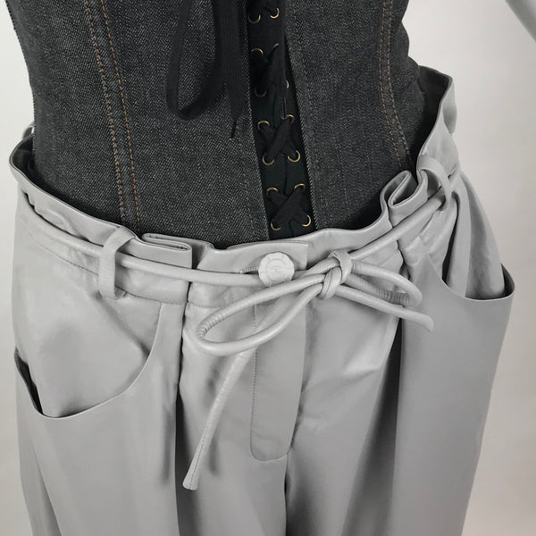 Chanel Light Grey Leather Pants