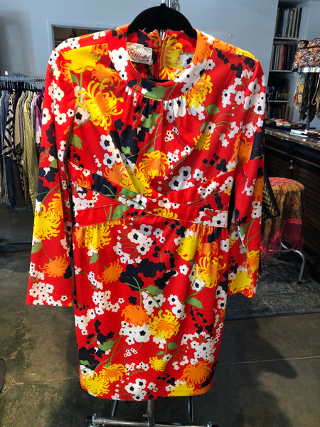 Kay Windsor 60's Orange Flower Dress