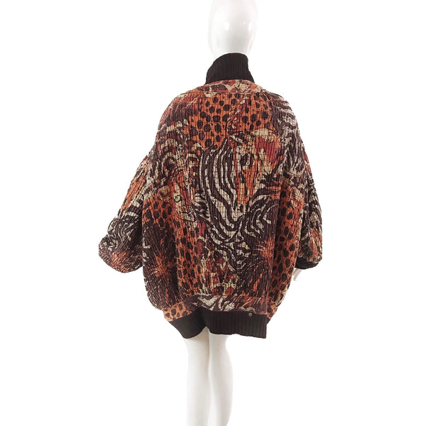 70's Gene Ewing Bis Rich Denim Leopard Jacket-Dress