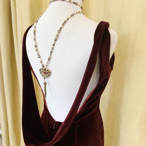 Open-Back Douglas Hannant Velvet Burgundy Dress