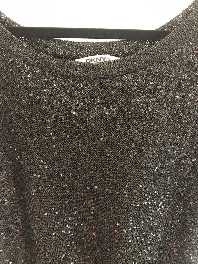 DKNYC Black Sequin Top - Size L