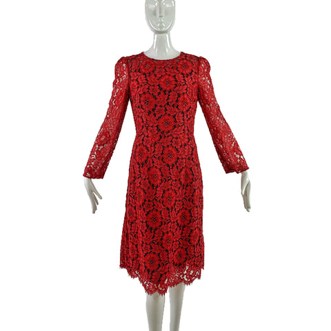 Dolce & Gabbana Red Lace Dress