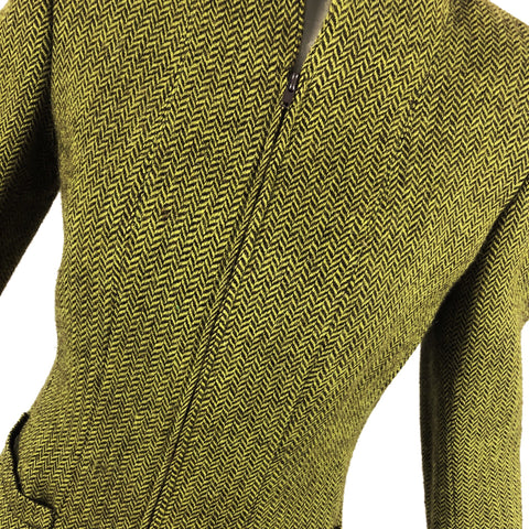 Oscar de la Renta Green Herringbone Skirt Suit