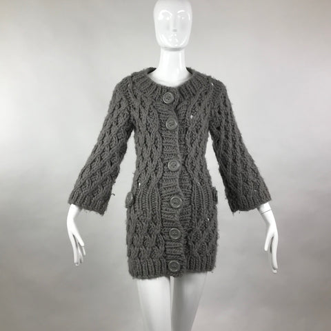 Twinkle by Wenlan Open Crochet Grey Cardigan