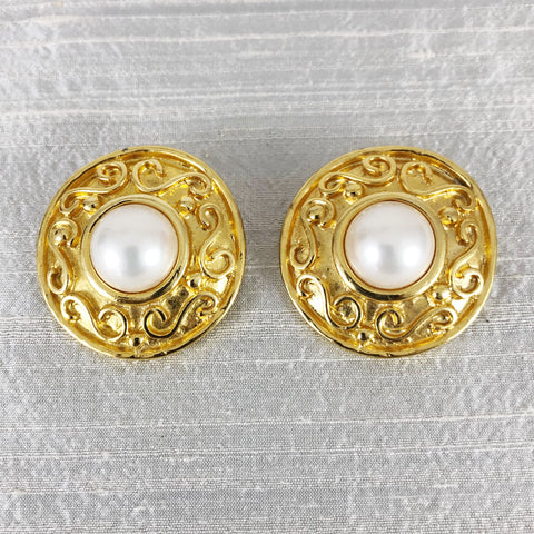 Erwin Pearl Gold + Faux Pearl Earrings