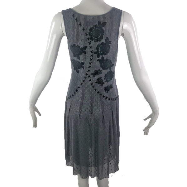 Biya Embroidered Mesh Grey Dress