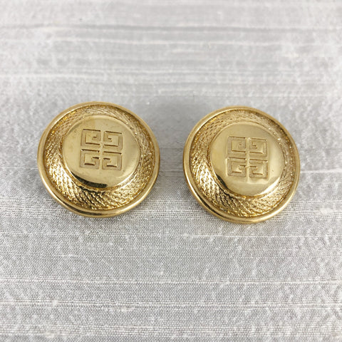 Givenchy Gold Vintage Medallion Clip Earrings