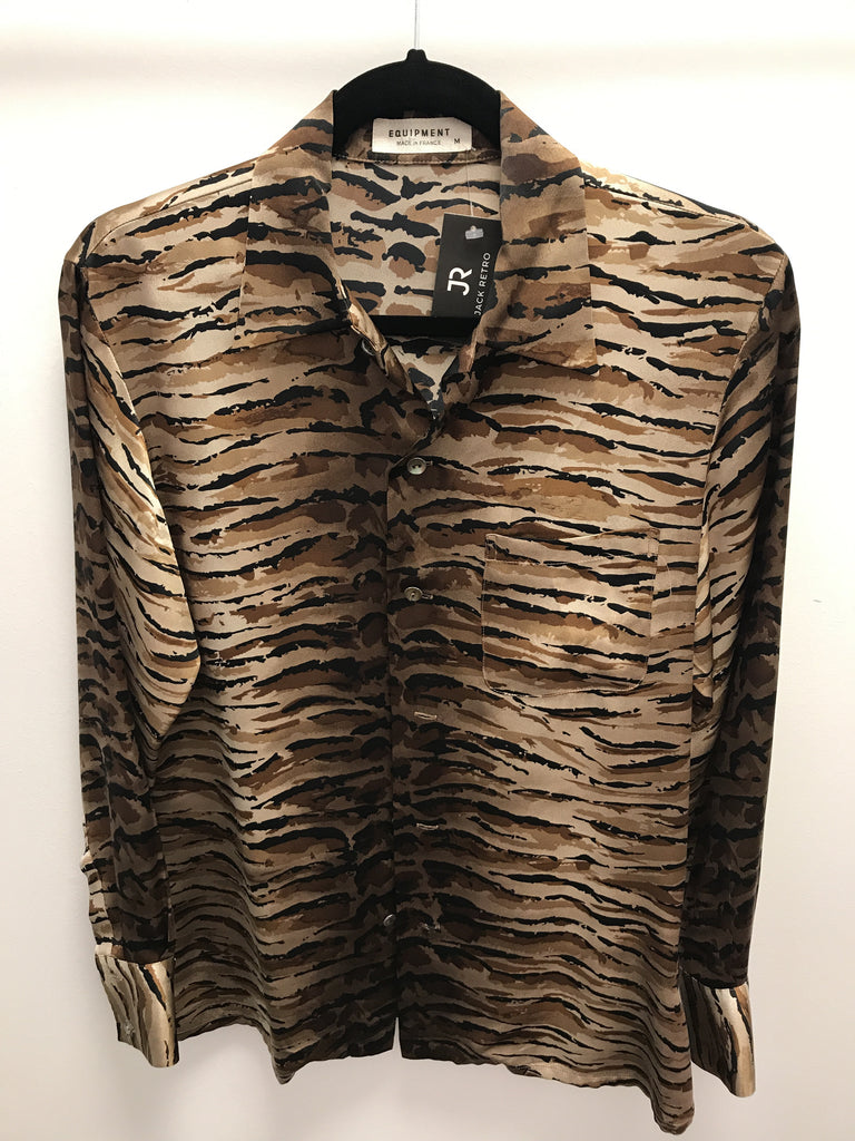 Equipment Brown Tiger Print Top - Size M