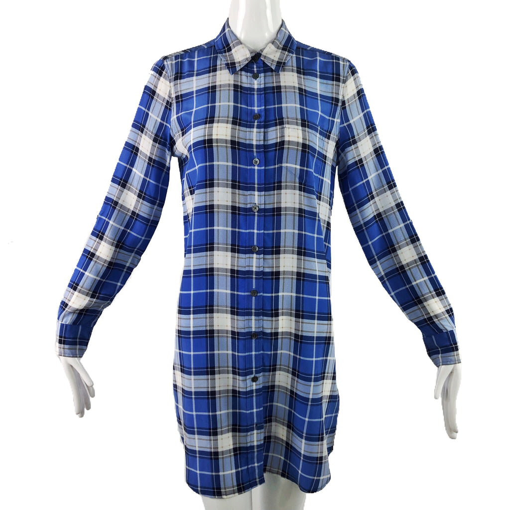 Equipment Blue Plaid Shirt Dress