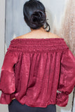 Burgundy Satin Off Shoulder Top