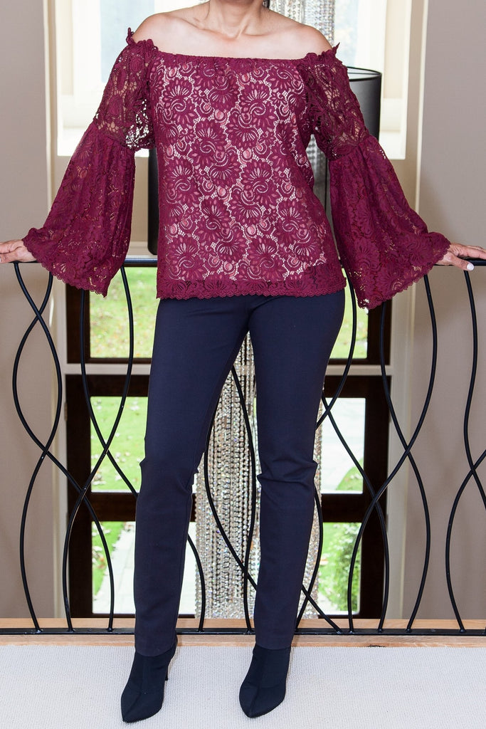 Cranberry Lace Open Shouldler Top