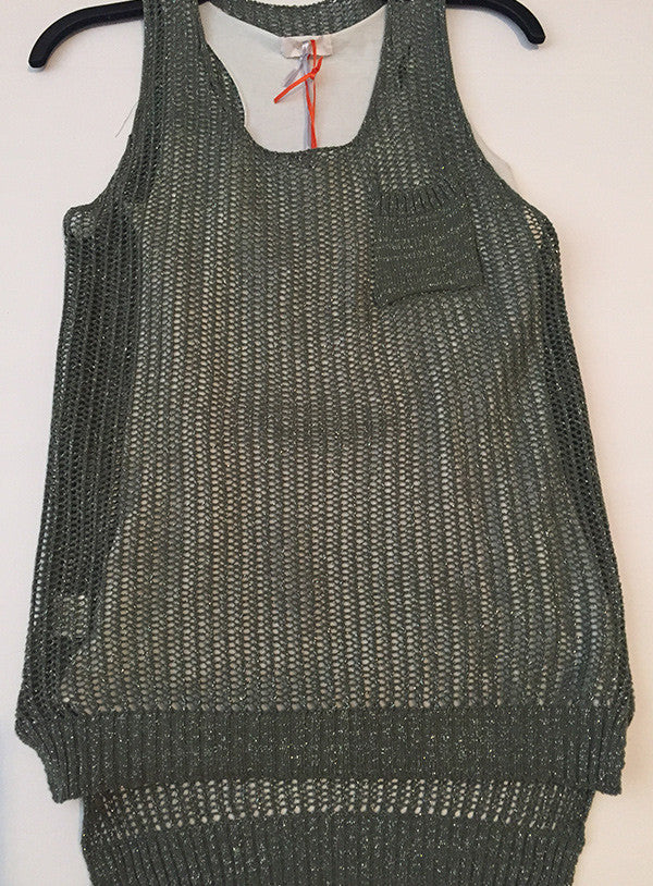 Cotton blend sweater and tank set