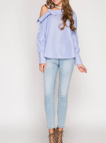 Open Shoulder Mock Turtle Neck