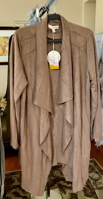 Plus Size: Mocha Faux Suede Jacket