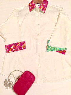 100% Cotton White Shirt with Pink/Green detailed collar and cuff