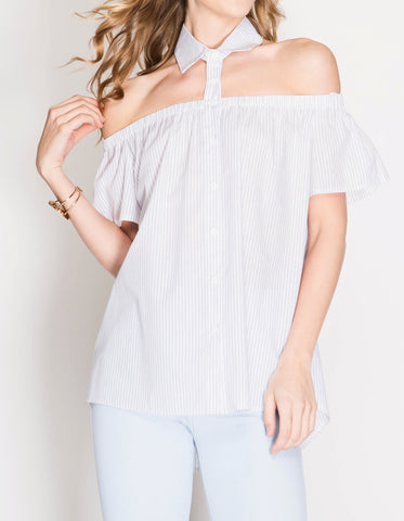 Cold Shoulder/Pleated Top w/Crochet Detail