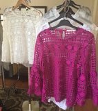 Bell Sleeve Crochet Top - Top Seller! Available in Cream & Fuschsia