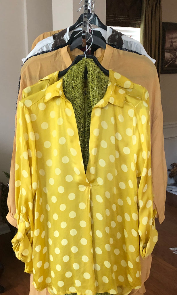 Yellow V Front Blouse