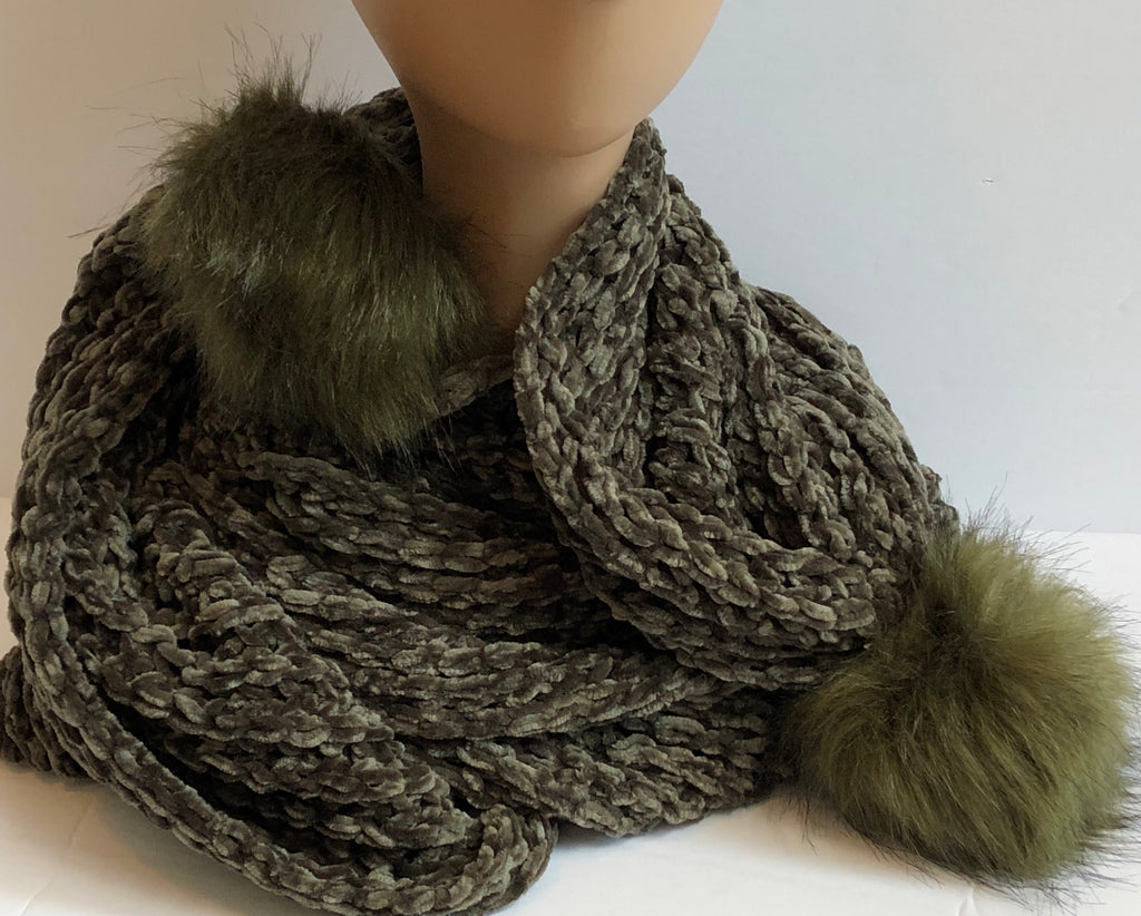 Olive Green-Winter Scarf with Faux Fur Tips