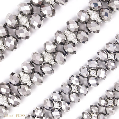 Majestic Metallic -Silver, crystals woven with rhinestones size 0, 1, 2 and 3