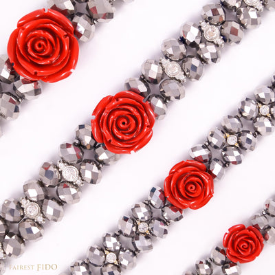 Majestic Metallic -Silver, crystals woven with rhinestones and red flower size 0, 1, 2 and 3