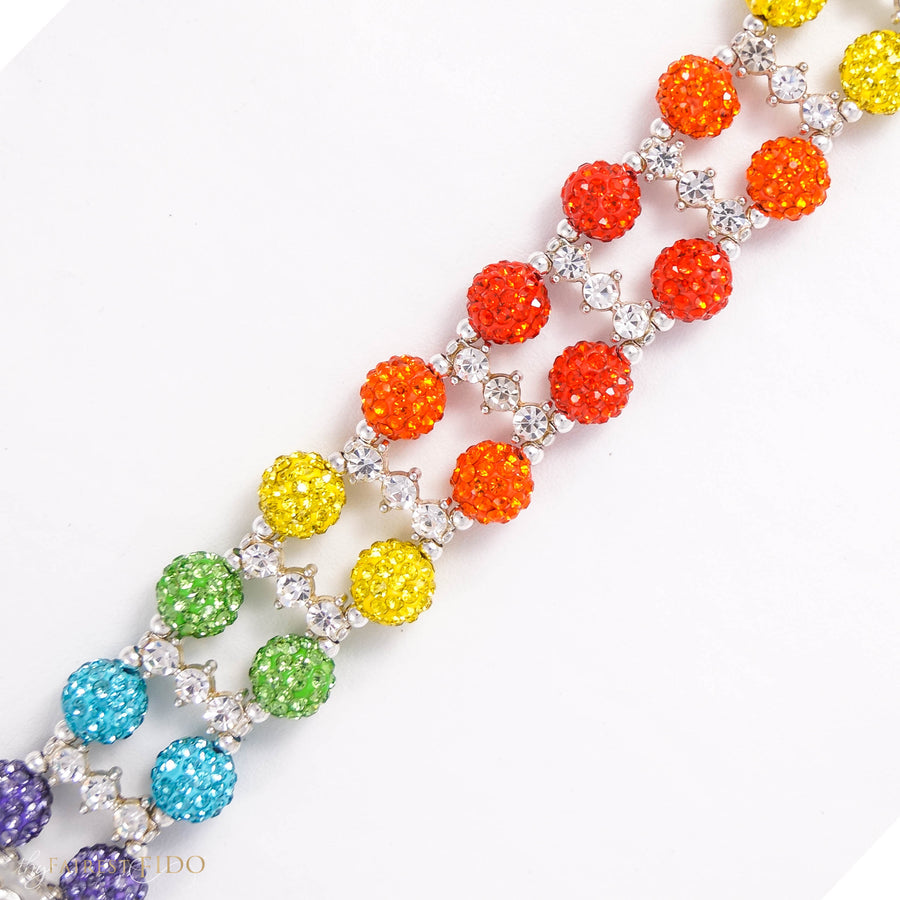 Over the Rainbow and Back, Two rows rainbow pattern pave crystal balls with rhinestone spacer bars proportional size 2