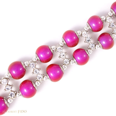 Moodier Pooch, Two Rows of color changing pink, red, orange and yellow beads with rhinestone spacer bars AAA