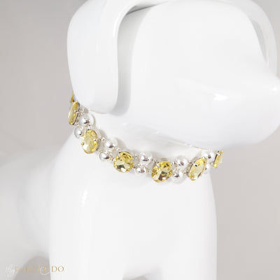 Eternal_Gems_Two_row_woven_yellow_glass_crystals_with_signature_silver_beads_size_1_Thy_Fairest_Fido