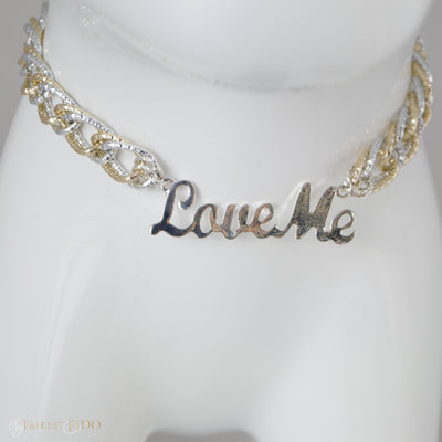 Love Me, Love Me words in silver with silver and and light gold chain
